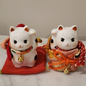 Porcelain Lucky Cat Set Japan
